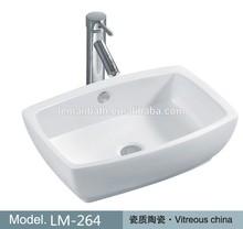 LM-264 New Design Sanitary Ware Bathroom Ceramic Sink Above Counter Wash Basin Rectangle Art Basin