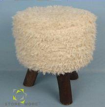 Round Shape Bedroom Furniture Knit Fabric Ottoman