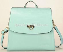 New arrival! 2015 big brand real leather snake skin women weekend backpack leisure girls green genuine leather tote bag sling ba