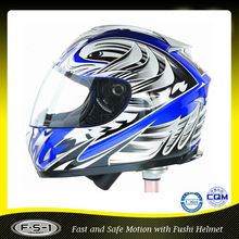 Stylish DOT ABS blue full face motor bike helmet