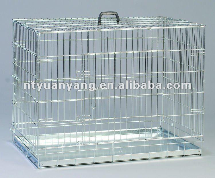 Высокое качество оцинкованная для фламинго две двери складной железной собака клетки собака crate