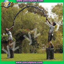 Life size bronze children sculpture of children playing