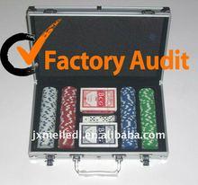 poker pro 200pcs poker set in silver aluminum case MLD-AC80