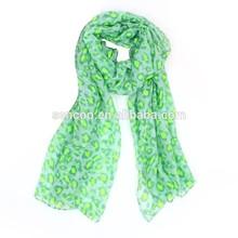 latest popular brilliant fluorescent color leopard lines voile scarf factory
