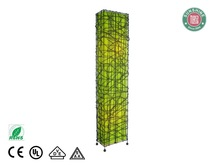 Green rectangular rattan floor standing lamp
