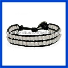 new 2014 Hot White Pearl Beads Leather Cord Wrap Bracelet TPCL130#