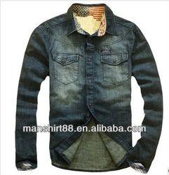 trendy style long sleeve brand denim shirt for men
