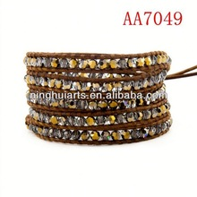 2014 popular wrap make leather wraps leather Christmas decoration China Manufacturer bracelet wholesale