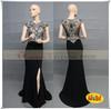 DW50503 black Jersey Leg Slit Mermaid Evening dress Made in China Chaozhou Factory