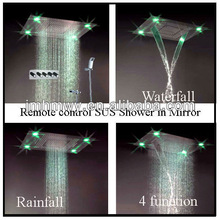 Remote control 4 function led light rain shower head embeded ceiling mount shower mixer