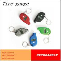 Mini car tire pressure gauge with keychain