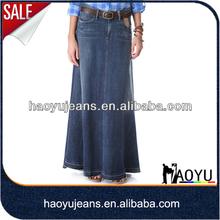 Jeans manufacturer individual design long skirt women jeans long skirt wholesale long denim skirts (HYSK12)