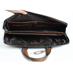 Hot selling top layer black cow leather laptop man canvas leather shoulder bag