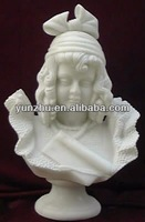 White Hand Carved Beautiful Children Stone Bust Statue