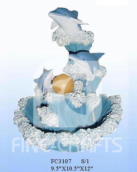 Resina de delfines de mesa fuente de agua