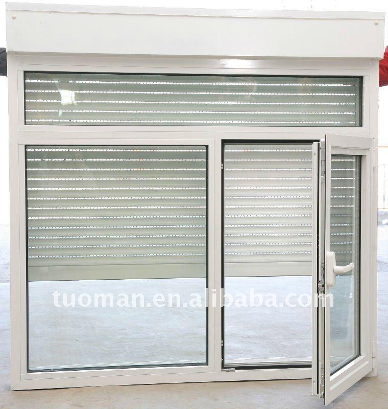 Aluminium casement window roller shutter and retractable for Voilage fenetre pvc