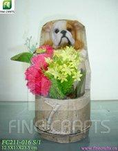 Polyresin dog figurine flower vases