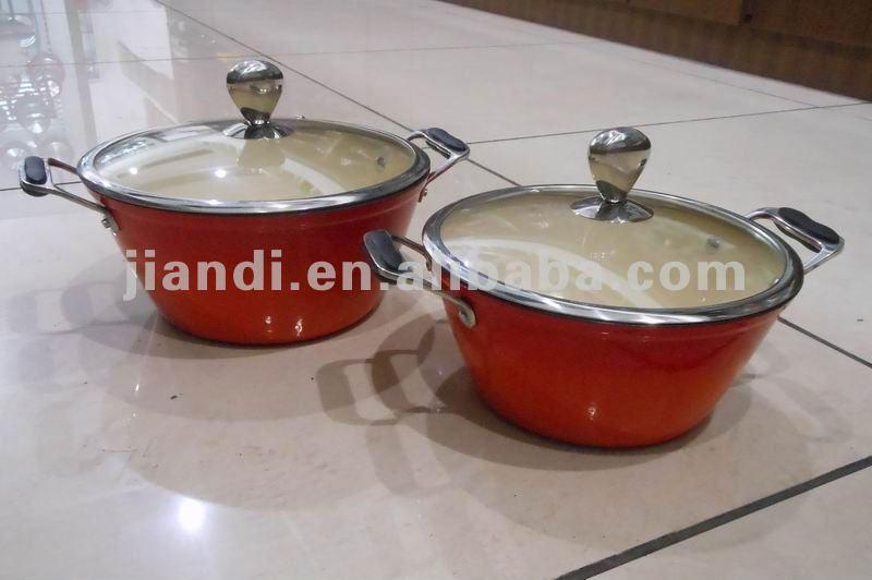 Best quality durable enamel coating Cast Iron sauce pot,stock pot