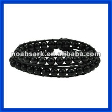 new 2014 Men's Black Pearl Beads Leather Wrapped Bracelet TPCL164#
