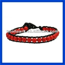 new 2014 Red Pearl Beads Leather Bracelet Wrap TPCL140#