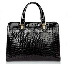 2015 Latest design best price fashion crocodile pattern genuine/real leather elegant women leather laptop bag tote bag