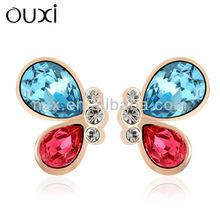 OUXI Colorful butterfly shape diamond stud earring 20523