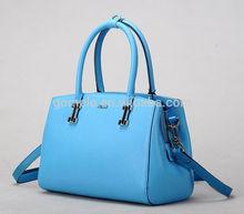 Hot sale! 2015 fashion real leather handbag sky blue tote bag cow skin split leather handbag for women