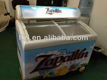 110V/60Hz 258L curved glass door freezer,ice cream freezer