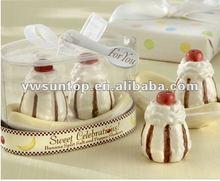 """Promotional """"Sweet Celebrations!"""" Ceramic Banana Split Salt and Pepper Shaker Wedding Items"""