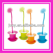 new designed flower handle plastic toilet brush with holder