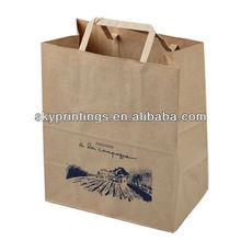 flat handle brown kraft paper grocery bag