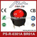 PA66 black base rocker switch button waterproof rocker switch 2p illuminated one way electrical rocker switch