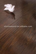 Handscraped black walnut colour UV lacquer Poplar engineered wood flooring