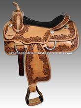 Draft equestrian western saddle