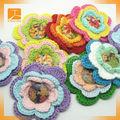 personalizado nuevo diseño al por mayor hecho a mano de flores de ganchillo apliques en artesanías textiles