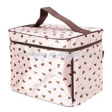 Cute Hearts Pattern Cosmetic Makeup Train Case Toiletry Bag Collections Pink
