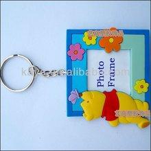 3d bear shape photo frame mini pvc key chain