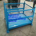 De almacenamiento de metal de malla de alambre caja/contenedores/almacén apilables caja de malla flexible con adjunta de la puerta