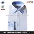 blanco oxford 80s 2 capas camisa fundido cuello camisa de vestir camisetas chicos