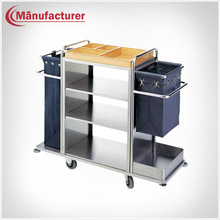 Stainless Steel Hotel Room Service Trolley Cart/Housekeeping Used Laundry Janitor Equipement
