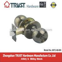 6872AB-BK:ANSI Grade 3 High Quality Tubular Entry Knob Lock
