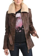 2014 yeni kadın deri ceket hafifçe yastıklı astar