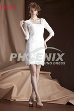 FW283 Sheath/Column Square Short/Min Lace top Wedding dresses