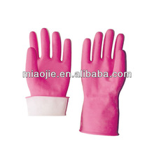 cleaning pink latex cotton flocklined gloves