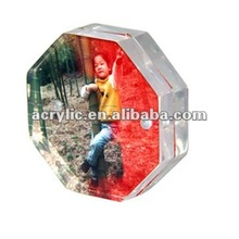 Clear acrylic magnetic octangle shape table photo/picture frame