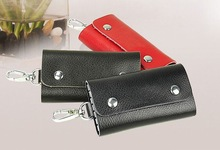 Leather Car Key Case Holder with Purse Wallet Bag