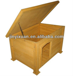 Hot sales! Wooden dog houses with hinged flat roof / cheap dogs houses