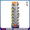Custom tsd-w273 3 face rotativa piso slatwall acrílico sapatos prateleiras/sapateira de madeira desenhos/sapato exibição de parede com a roda
