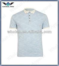 Azul corante espaço contraste collar algodão casul camisa polo dos homens
