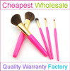 Promotional 5pcs Portable Sweet Cosmetic Brush kit with Pink Color Cosmetic Brush